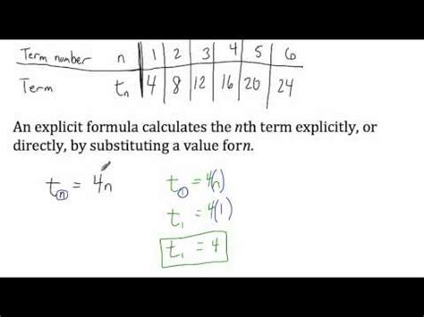 what does pattern rule mean sequences explicit formulas youtube