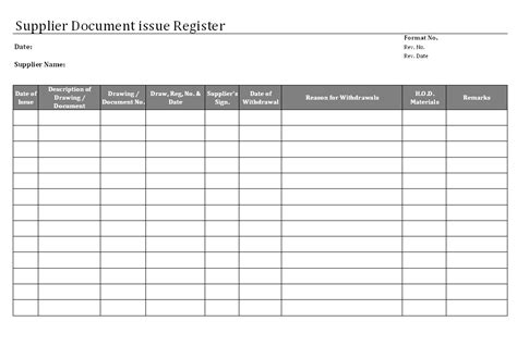 supplier document issue register format