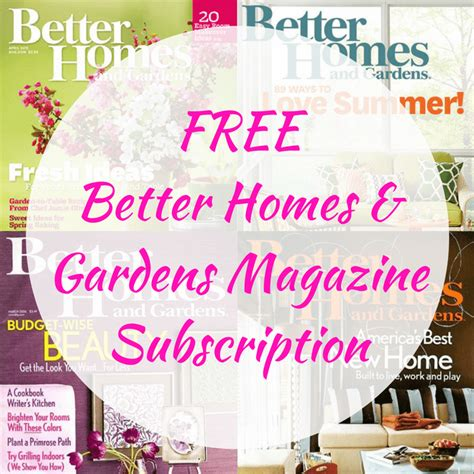 free better homes gardens magazine subscription
