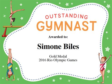 gymnastics certificate template gymnast award certificate template image sports feel