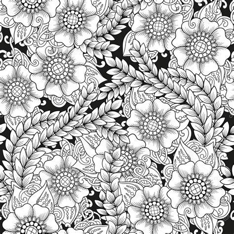 fiori stilizzati in bianco e nero modello bianco e nero ornamentale senza cuciture con i