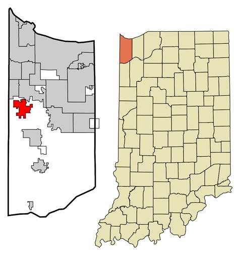 Lake County Search Indiana File Lake County Indiana Incorporated And Unincorporated Areas St Highlighted