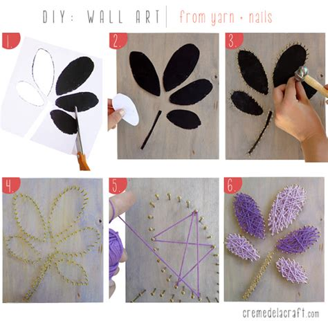 diy arts and craft diy wall from yarn nails
