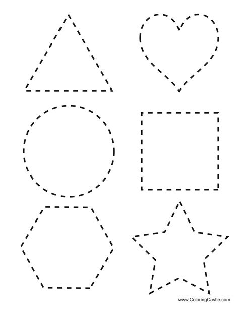printable letters numbers and shapes trace shapes worksheets kindergarten preschool shapes
