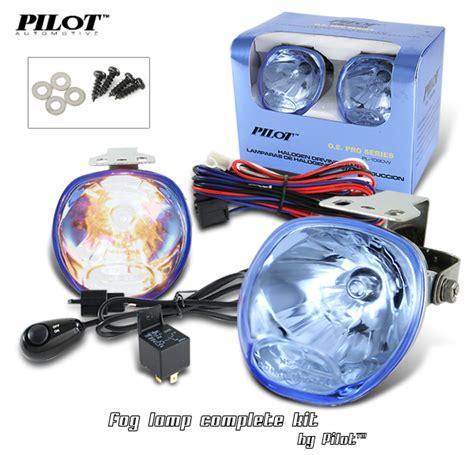 universal round fog lights 2 x pilot round universal blue lens fog lights kit with