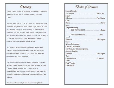 Funeral Biography Template by 21 Free Free Funeral Program Template Word Excel Formats