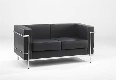 Leather Reception Sofa 610 2 Black Leather 2 Seater Reception Sofa 610 2 Black Leather 2 Seater Reception Sofa