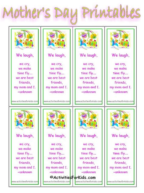 printable bookmarks mother s day printable mother s day bookmarks classroom printout for