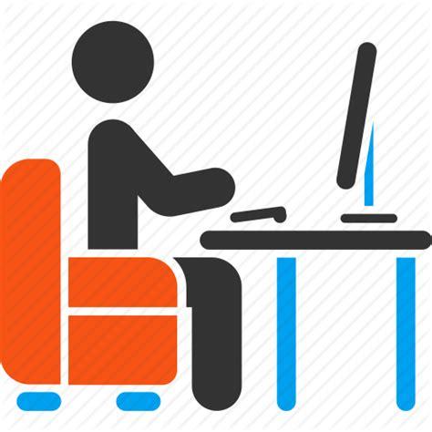 office desk icon administrator armchair coder desk