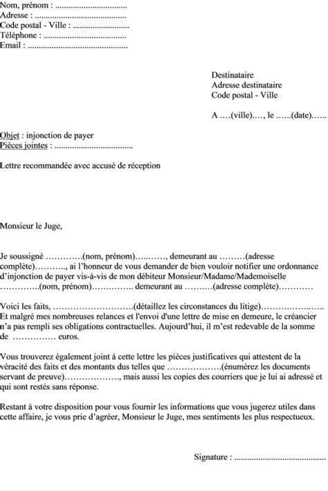 Modèle Opposition Injonction De Payer modele lettre opposition injonction de payer document