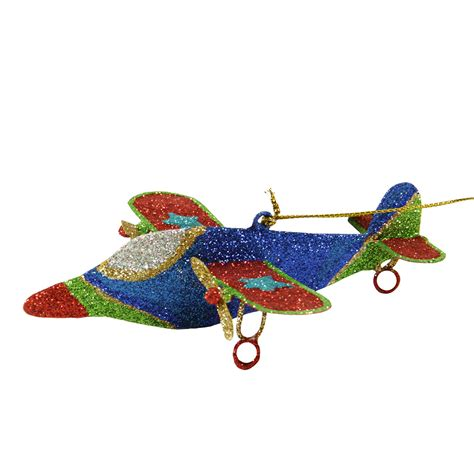 5 quot glitter drenched star accented dual propeller airplane