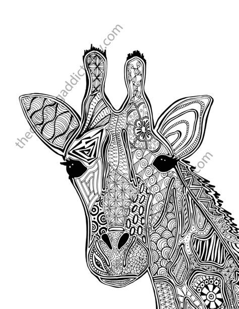 giraffe coloring pages pdf giraffe coloring page animal coloring page adult coloring