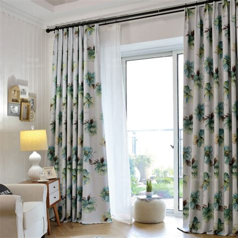long living room curtains green floral print polyester insulated country long