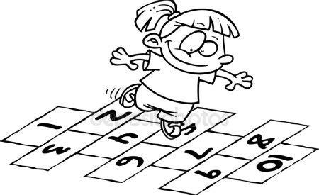 dibujos de niños jugando rayuela chica de dibujos animados rayuela vector de stock