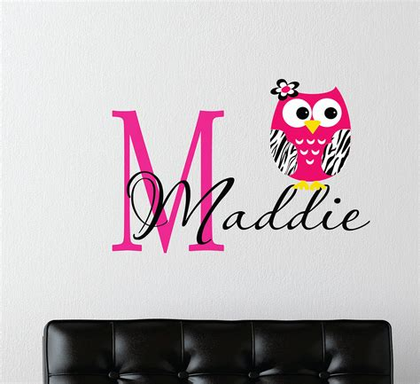 Nursery Wall Name Decals Childrens Decor Zebra Owl Wall Decal With Name Baby Nursery Wall T We How To