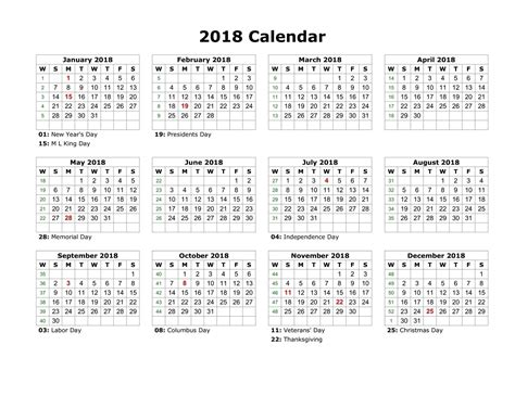 Yearly Calendar With Holidays 2018 Yearly Calendars With Holidays Activity Shelter