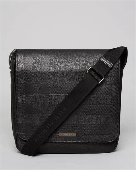 burberry london embossed check crossbody bag  black