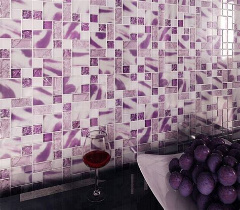 purple kitchen backsplash crackle glass wall tiles mh01 mosaic tile