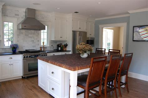 white kitchen island with top custom walnut butcher block countertop ridgewood new jersey