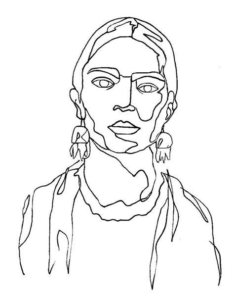 Continuous Line Technique Drawing 2019 | Frida art, Frida