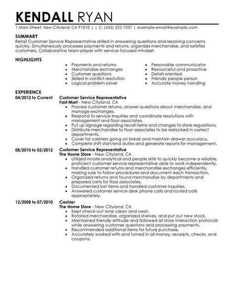 Resume Summary Exles For Customer Service Customer Service Representative Resume Sle Summary Highlights Writing Resume Sle