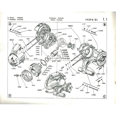 catalogue of spare parts scooter vespa 150 gl mod vgla1t