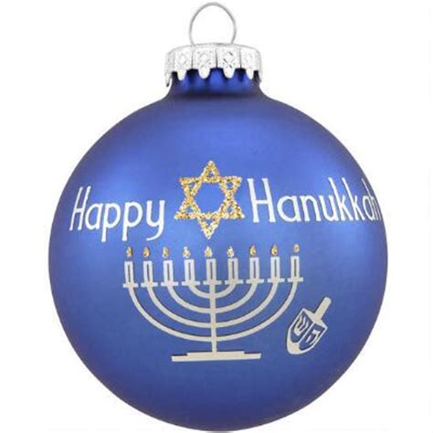 happy hanukkah with glitter glass ornament religious