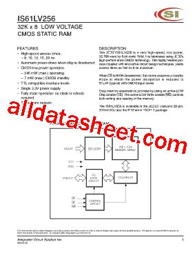 integrated circuit solution inc is61lv256 datasheet pdf integrated circuit solution inc