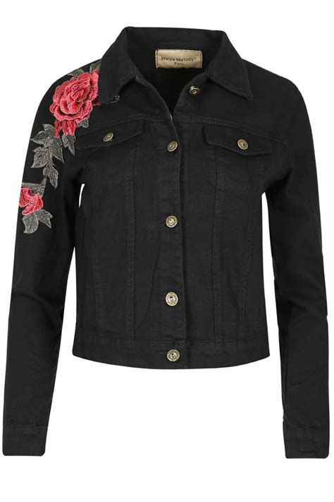 womens denim embroidered jacket front button
