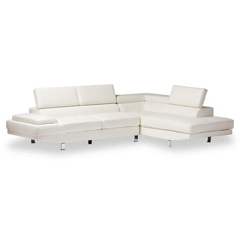 2 piece modern contemporary white faux leather sectional acme furniture vogue chocolate micro fiber sectional sofa
