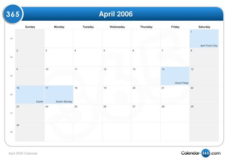 April 2006 Calendar April 2006 Calendar