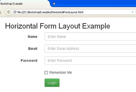 bootstrap layout horizontal bootstrap forms