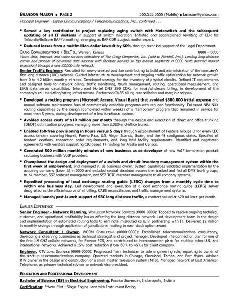 resume sample  senior telecommunications engineering operations management resume career