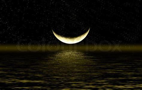 Tenda Halfmoon 2 Half Of Moon In The Sky Reflected In Water Stock