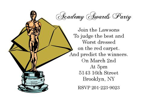 oscars invitation design party invitations ideas