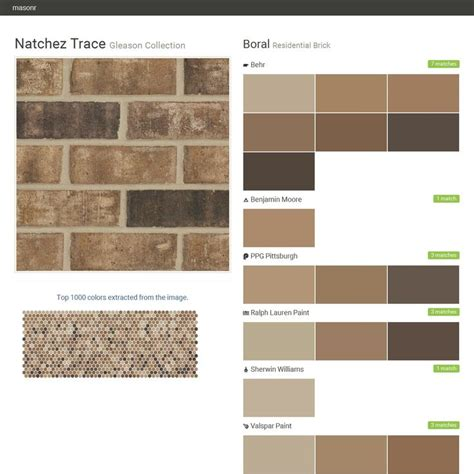 natchez trace gleason collection residential brick boral behr benjamin ppg paints