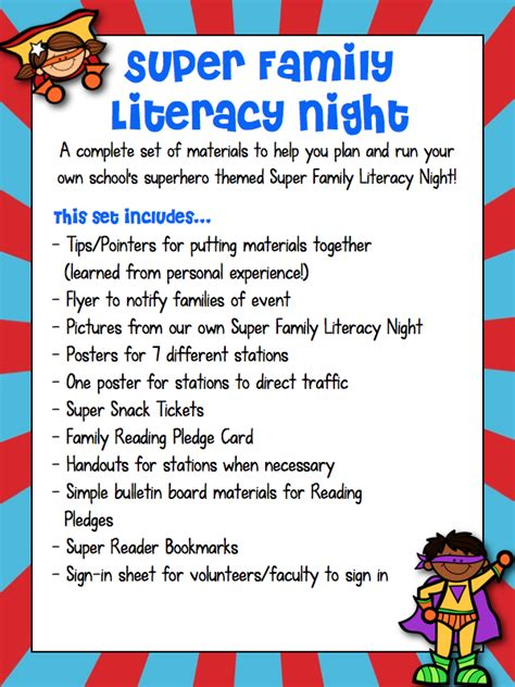 themes for reading buzzing with ms b super family literacy night superhero