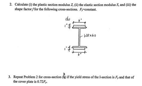 section modulous solved 2 calculate i the plastic section modulus z i