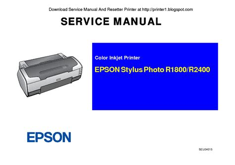 Epson Stylus Photo R1800 R2400 Sm Service Manual Download