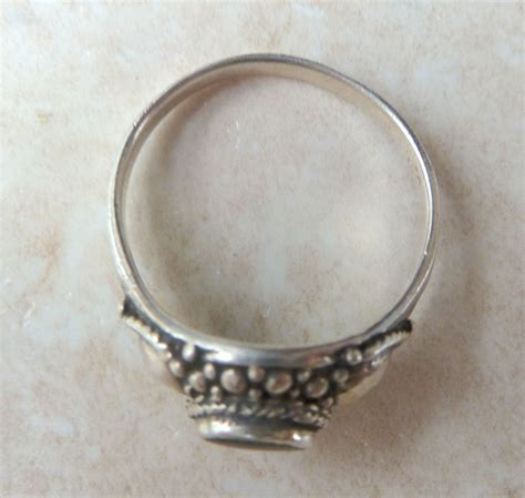sterling silver ring with faux marcasite and onyx