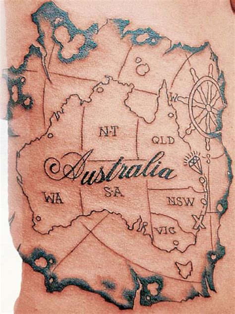 australia map tattoo