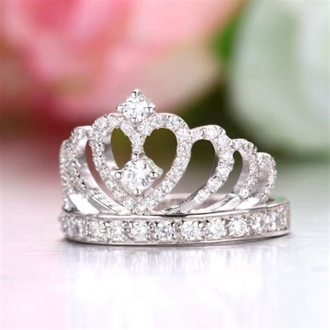 925 sterling silver princess crown engagement ring