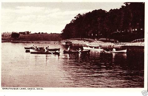 ebay boats ohio old cadiz ohio postcard chautauqua lake boating canoe ebay