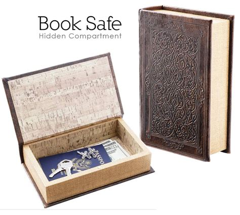 book safe brown faux w magnetic closure inner