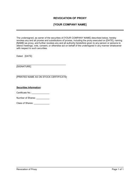 proxy revocation template sample form biztreecom