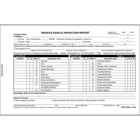 canadian driver s vehicle inspection report 2 ply