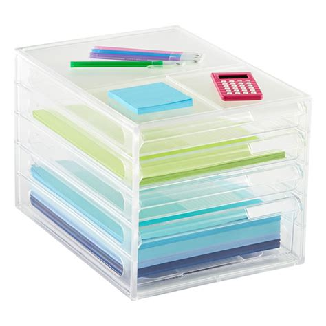 Paper Drawers by 4 Drawer Desktop Paper Organizer The Container Store