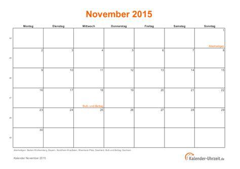 Kalender 2015 Ausdrucken November 2015 Kalender Mit Feiertagen