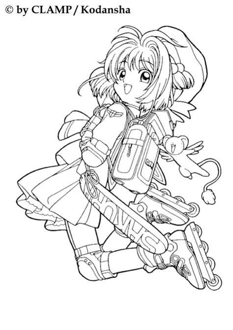 sakura rollerblading coloring pages hellokids com