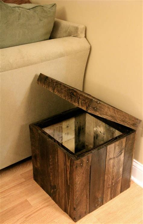 Diy Storage Ottoman Plans Diy Pallet Storage Cube Ottoman 101 Pallets